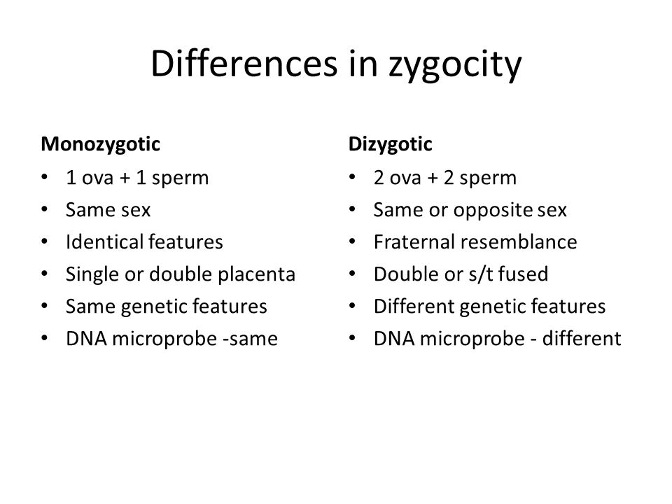 Differences in zygocity