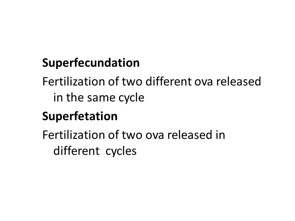 Superfecundation Fertilization of two different ova released in the same cycle. Superfetation.