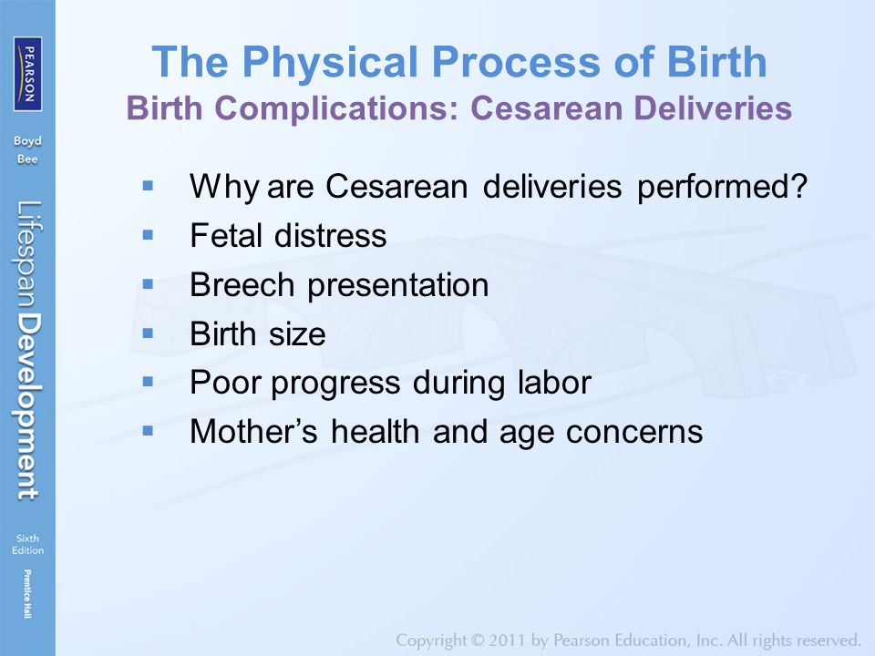 The Physical Process of Birth Birth Complications: Cesarean Deliveries