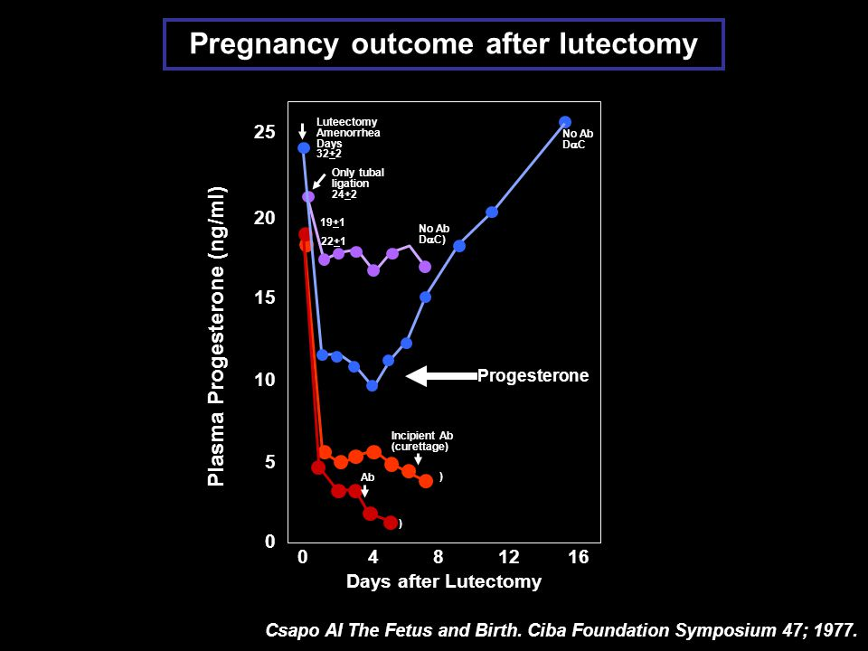 Pregnancy outcome after lutectomy Plasma Progesterone (ng/ml)