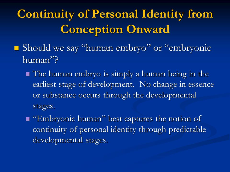Continuity of Personal Identity from Conception Onward