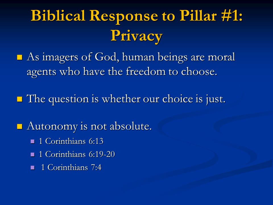 Biblical Response to Pillar #1: Privacy