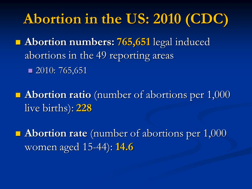 Abortion in the US: 2010 (CDC)