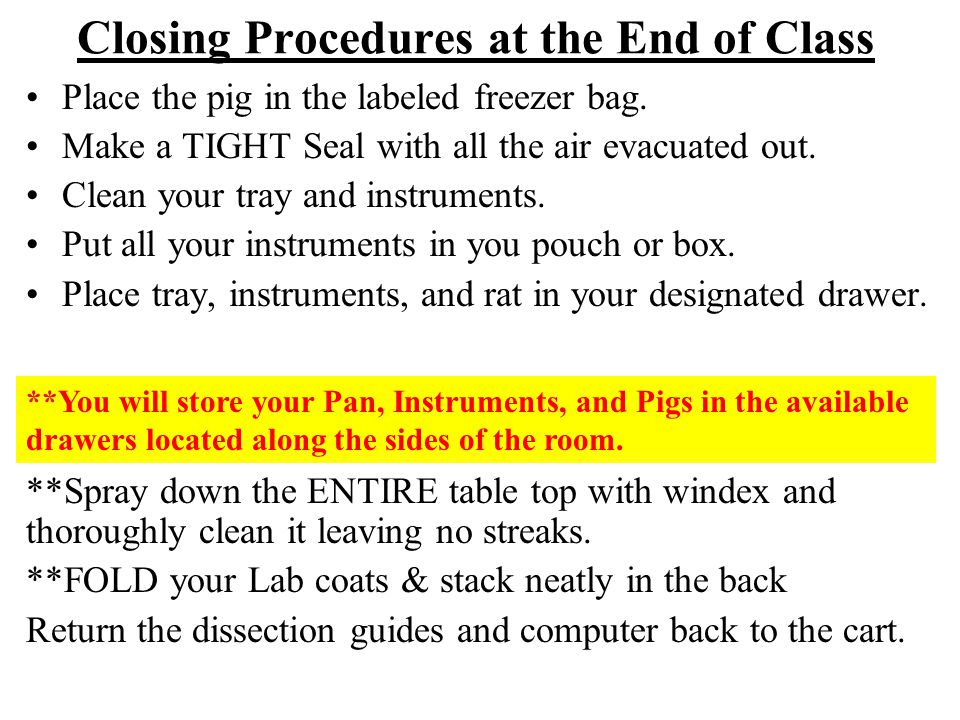 Closing Procedures at the End of Class