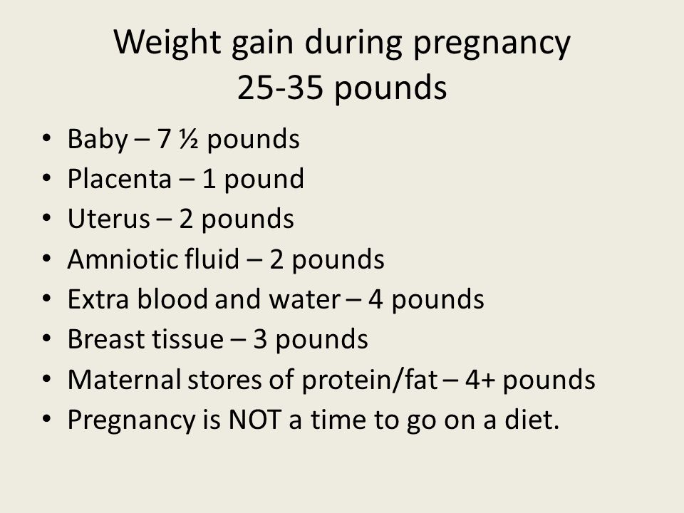 Weight gain during pregnancy 25-35 pounds