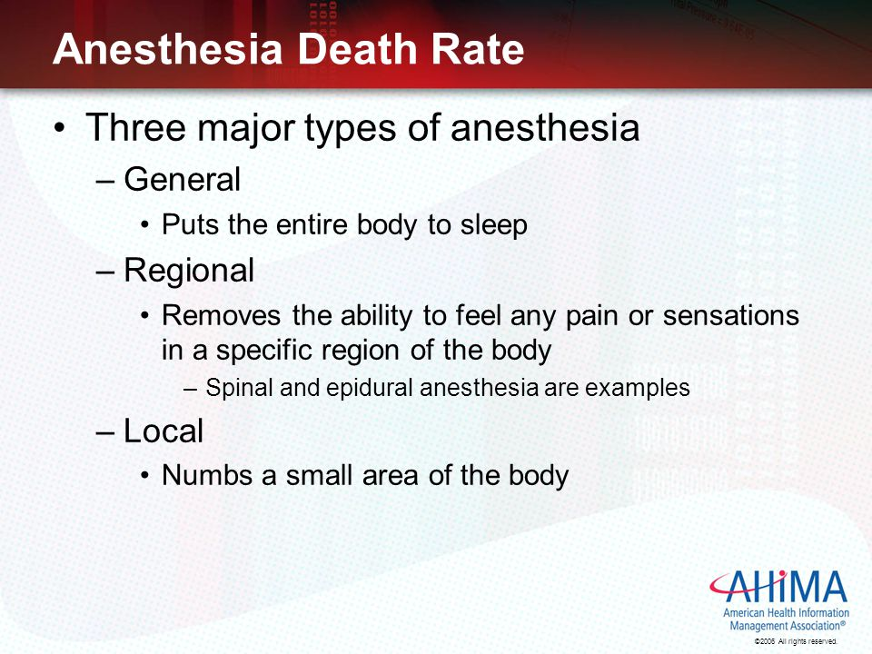 Anesthesia Death Rate Three major types of anesthesia General Regional