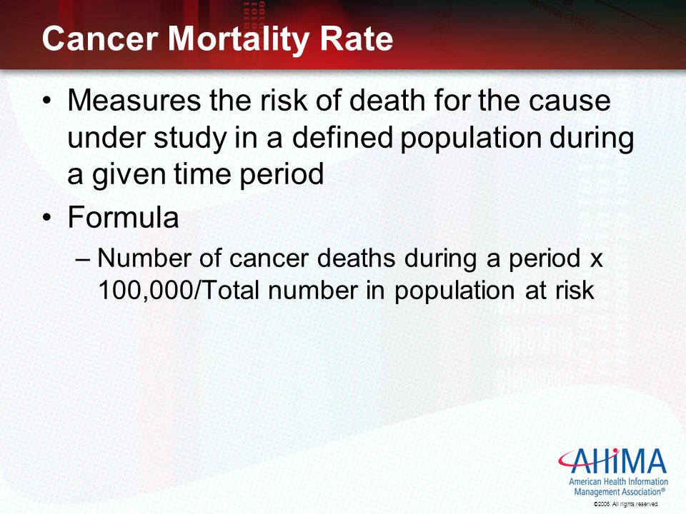 Cancer Mortality Rate Measures the risk of death for the cause under study in a defined population during a given time period.