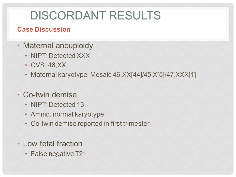 Discordant Results Maternal aneuploidy Co-twin demise