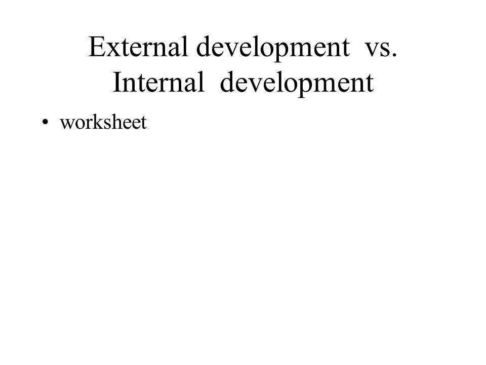 External development vs. Internal development