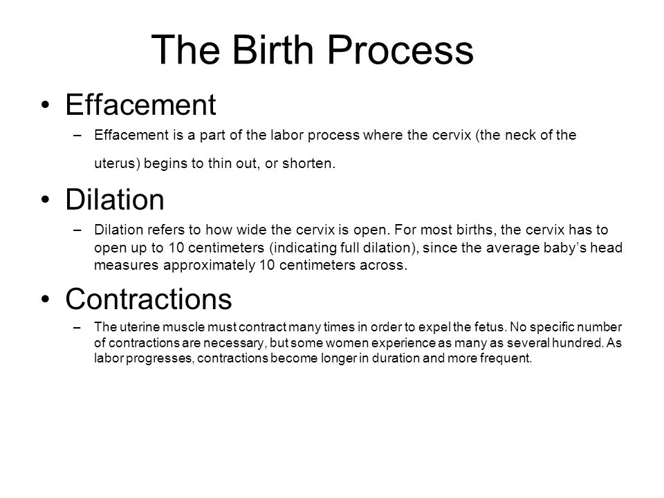 The Birth Process Effacement Dilation Contractions