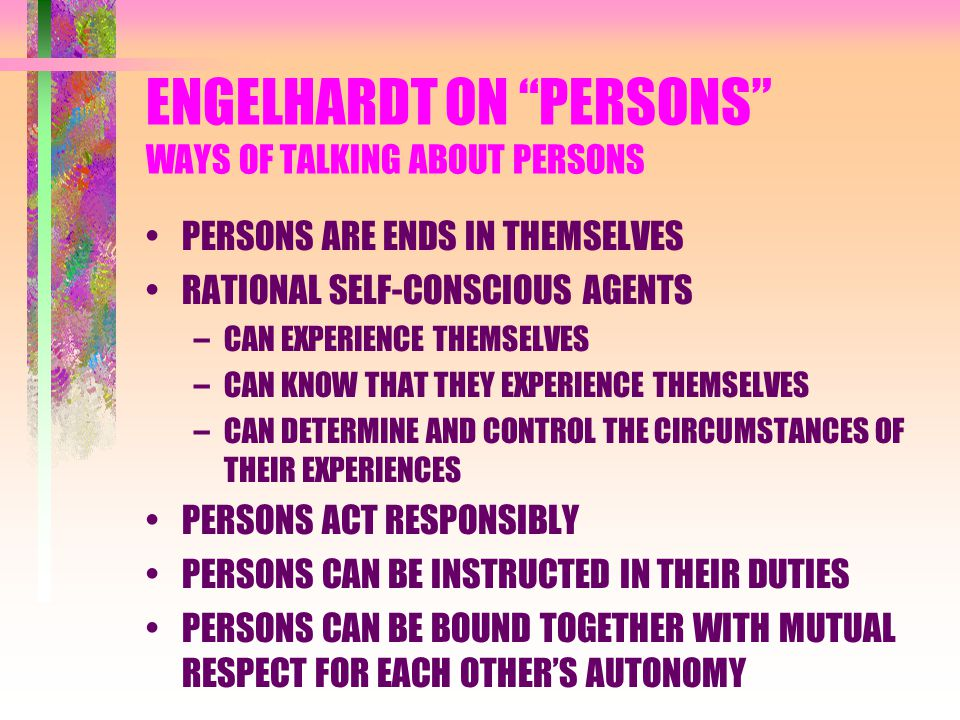 ENGELHARDT ON PERSONS WAYS OF TALKING ABOUT PERSONS