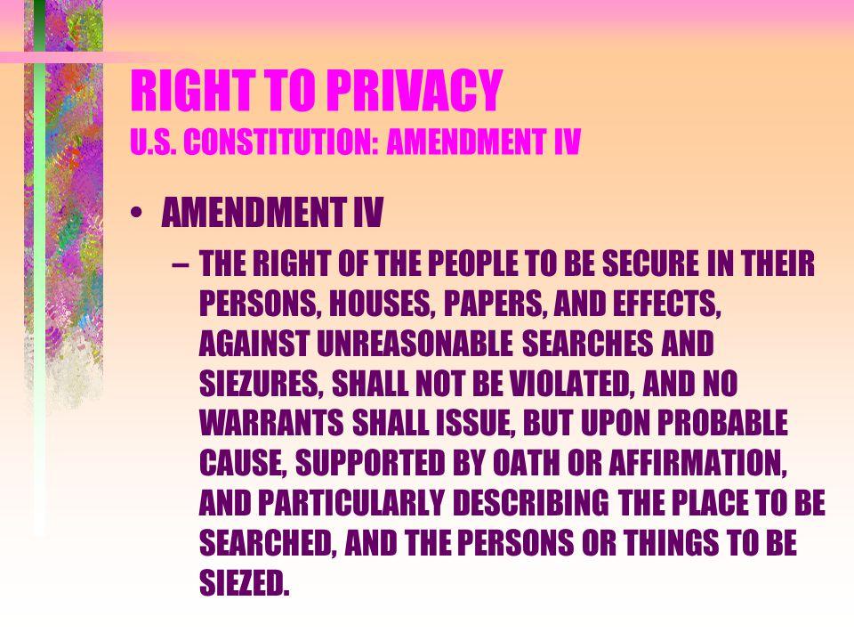 RIGHT TO PRIVACY U.S. CONSTITUTION: AMENDMENT IV