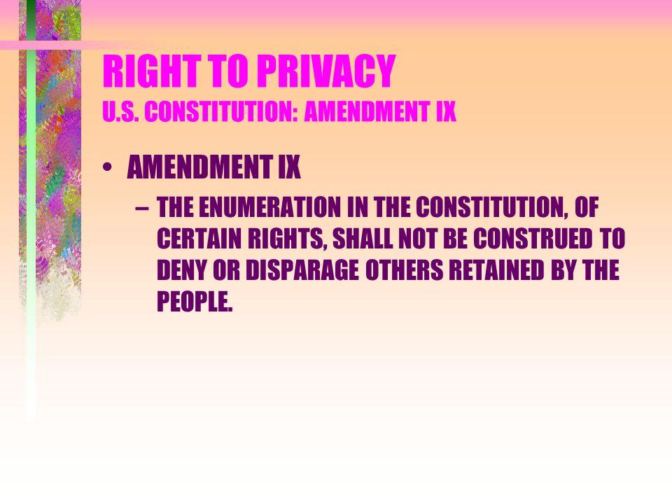 RIGHT TO PRIVACY U.S. CONSTITUTION: AMENDMENT IX