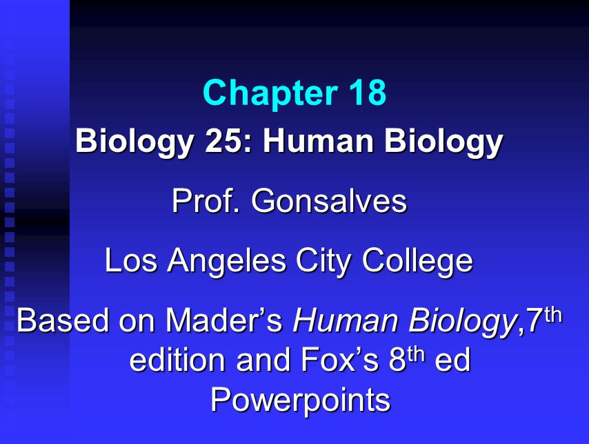 Chapter 18 Biology 25: Human Biology Prof. Gonsalves