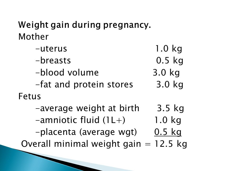 Weight gain during pregnancy. Mother -uterus 1. 0 kg -breasts 0