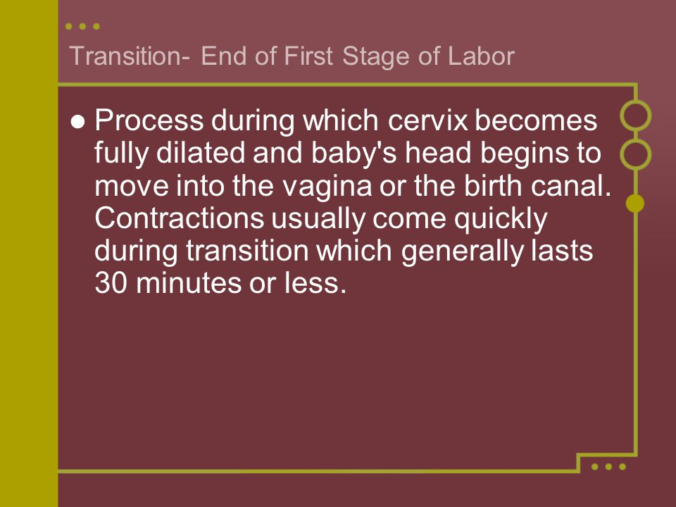 Transition- End of First Stage of Labor
