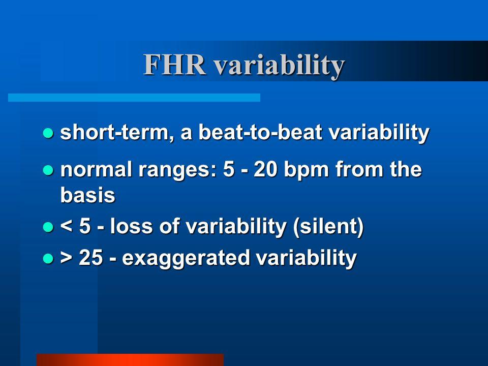 FHR variability short-term, a beat-to-beat variability