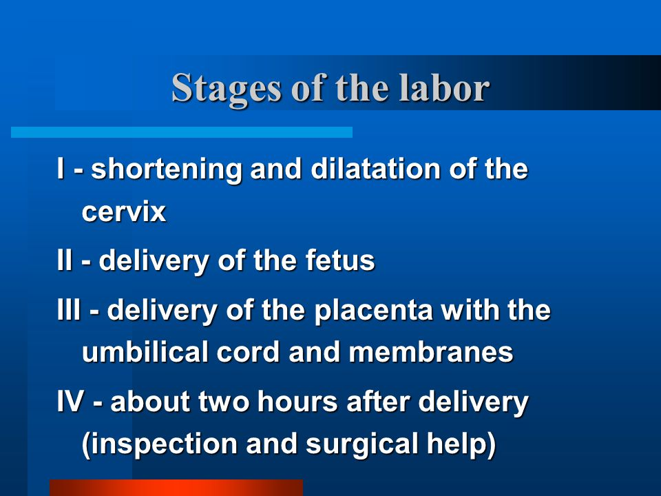 Stages of the labor I - shortening and dilatation of the cervix