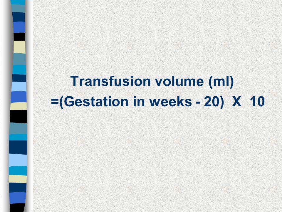 =(Gestation in weeks - 20) X 10