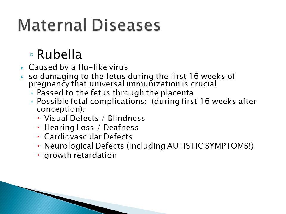 Maternal Diseases Rubella Caused by a flu-like virus