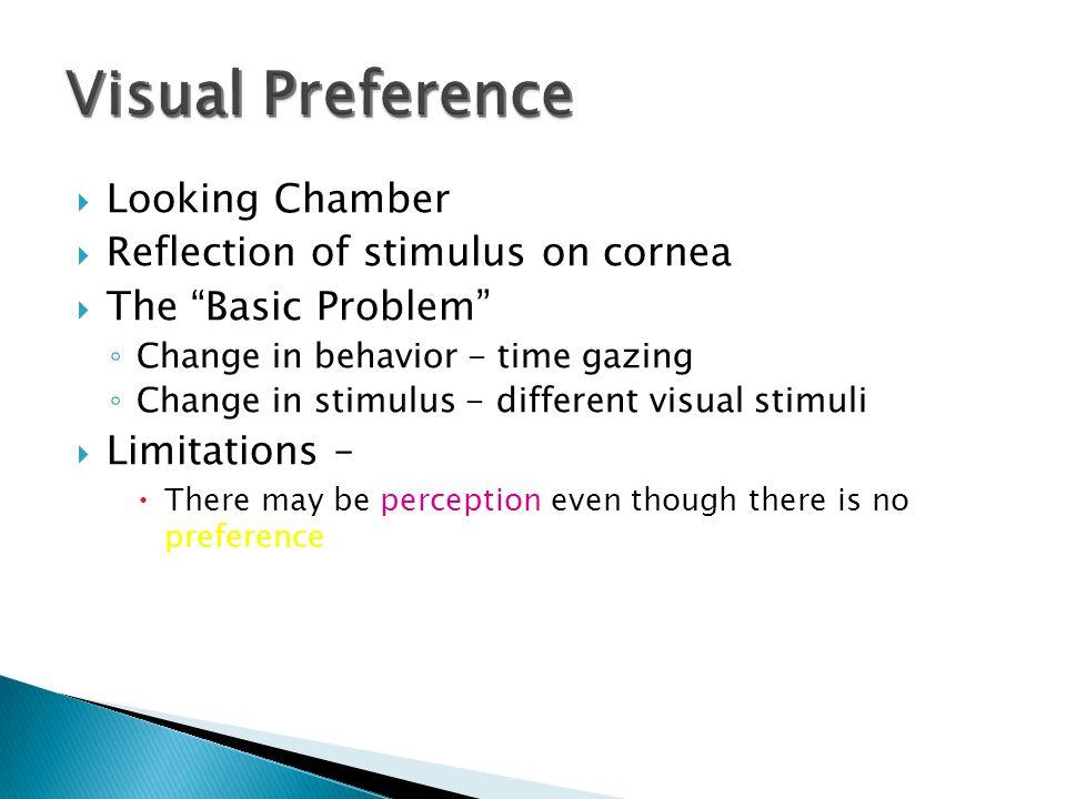 Visual Preference Looking Chamber Reflection of stimulus on cornea