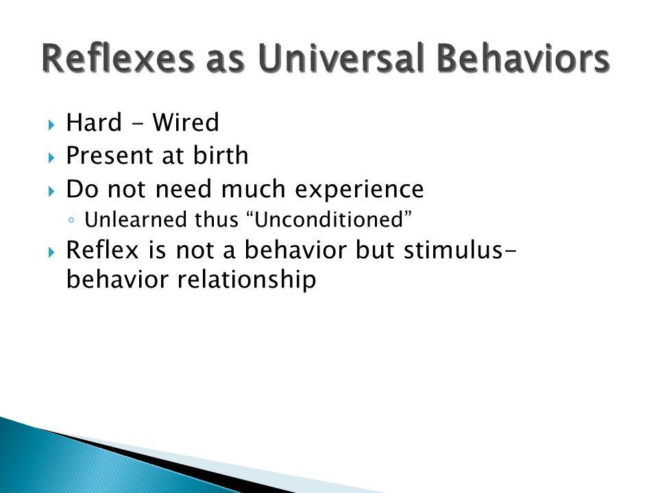 Reflexes as Universal Behaviors