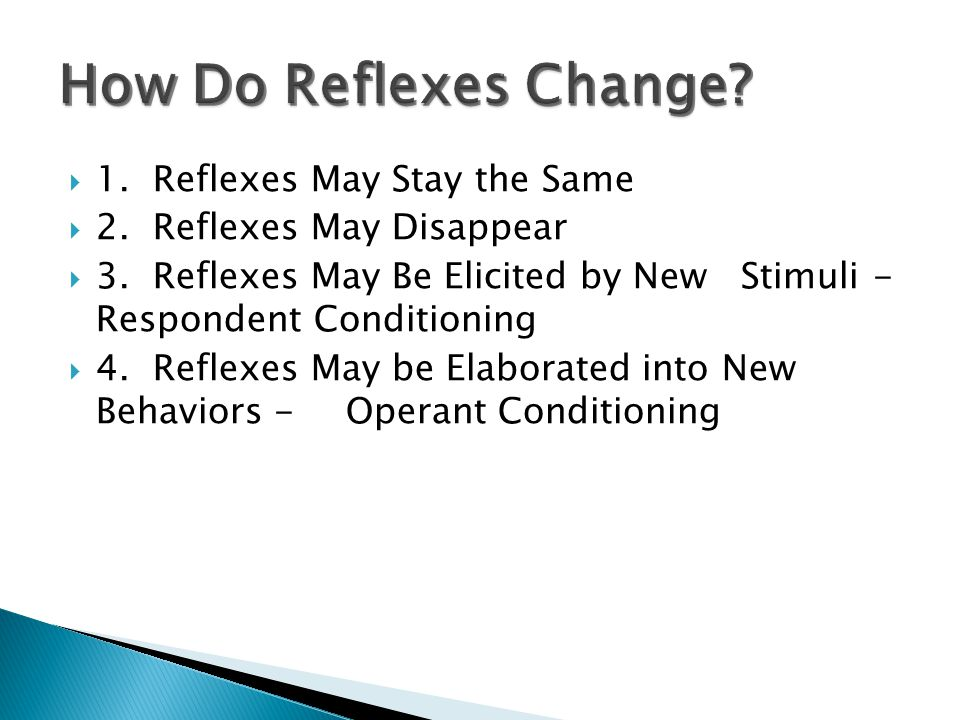 How Do Reflexes Change 1. Reflexes May Stay the Same