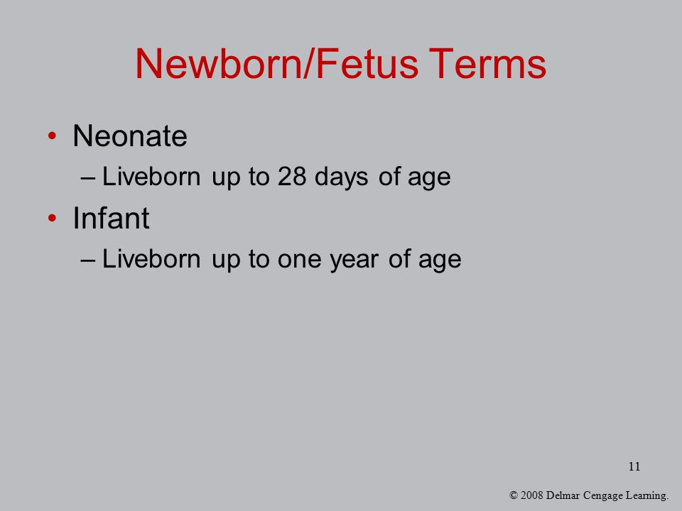 Newborn/Fetus Terms Neonate Infant Liveborn up to 28 days of age