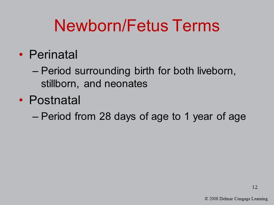 Newborn/Fetus Terms Perinatal Postnatal