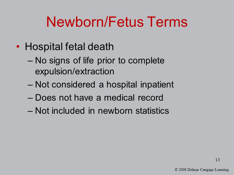 Newborn/Fetus Terms Hospital fetal death