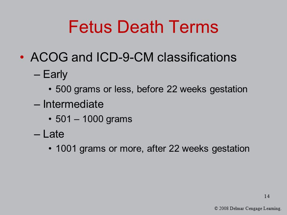 Fetus Death Terms ACOG and ICD-9-CM classifications Early Intermediate