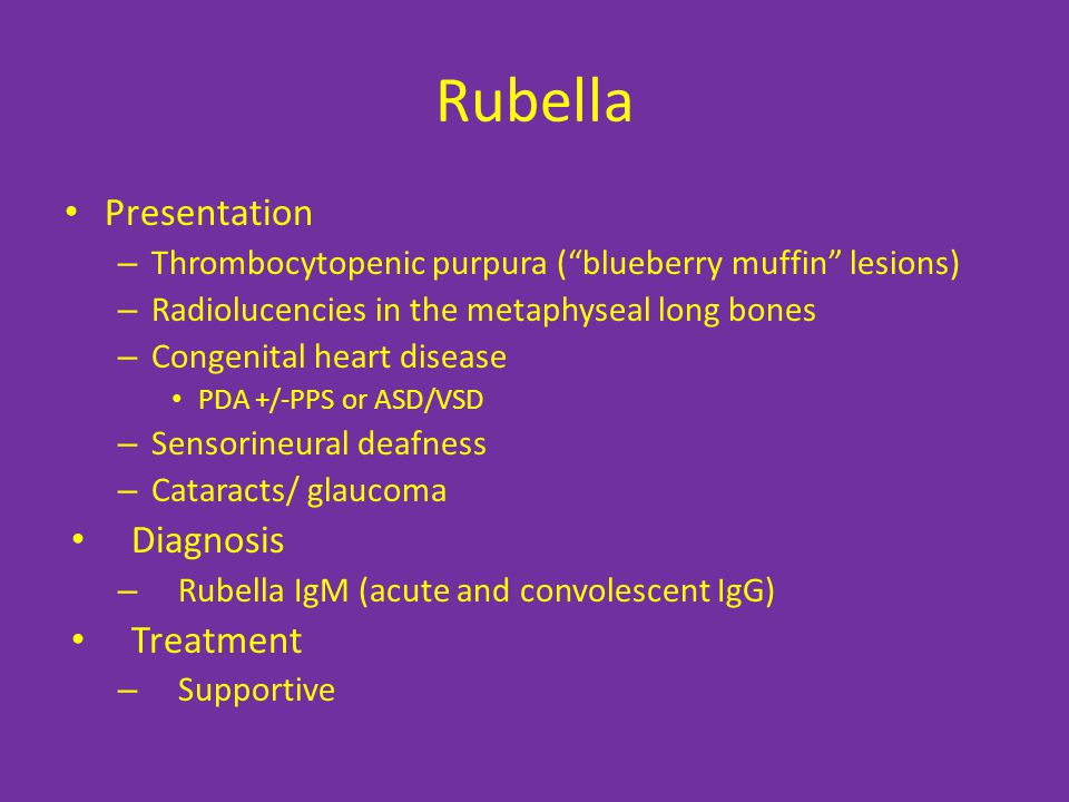 Rubella Presentation Diagnosis Treatment