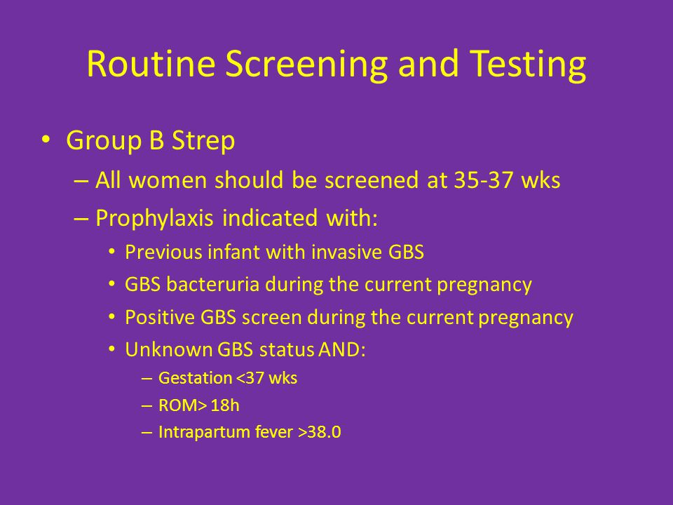 Routine Screening and Testing