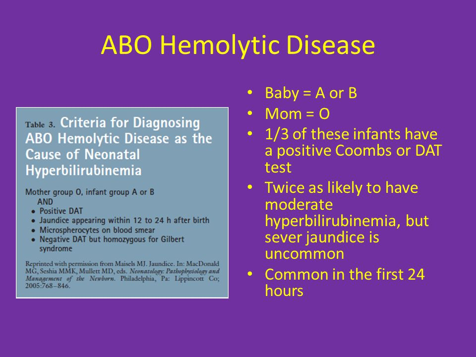ABO Hemolytic Disease Baby = A or B Mom = O