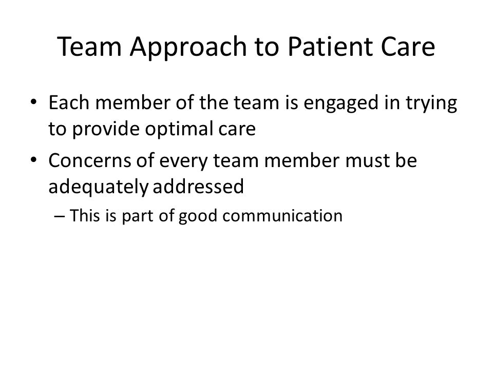Team Approach to Patient Care