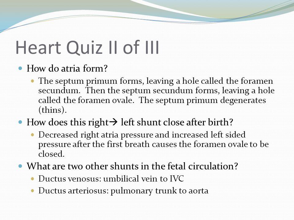 Heart Quiz II of III How do atria form
