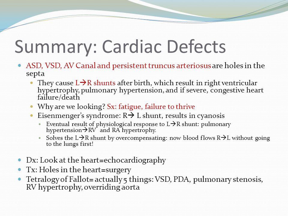 Summary: Cardiac Defects