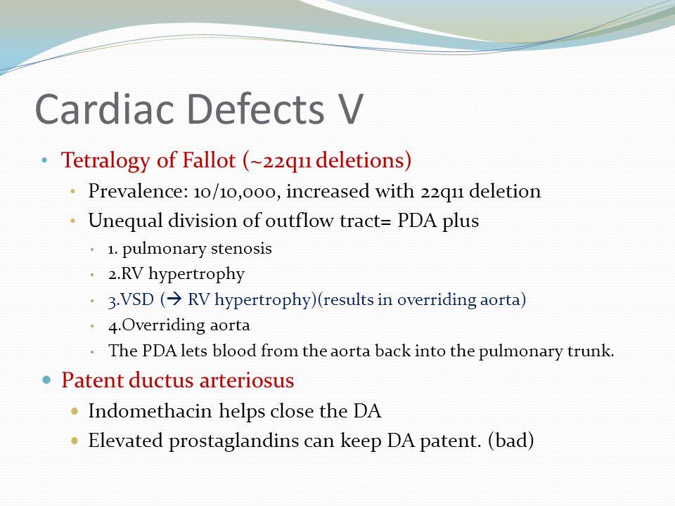 Cardiac Defects V Tetralogy of Fallot (~22q11 deletions)