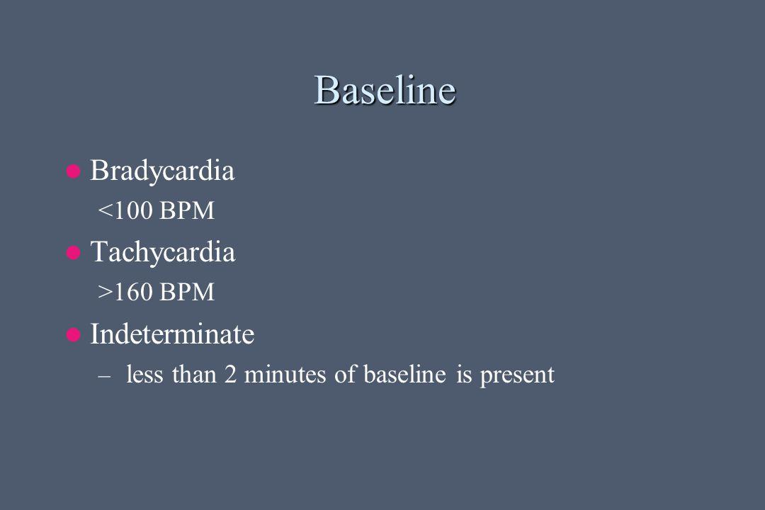 Baseline Bradycardia Tachycardia Indeterminate <100 BPM >160 BPM