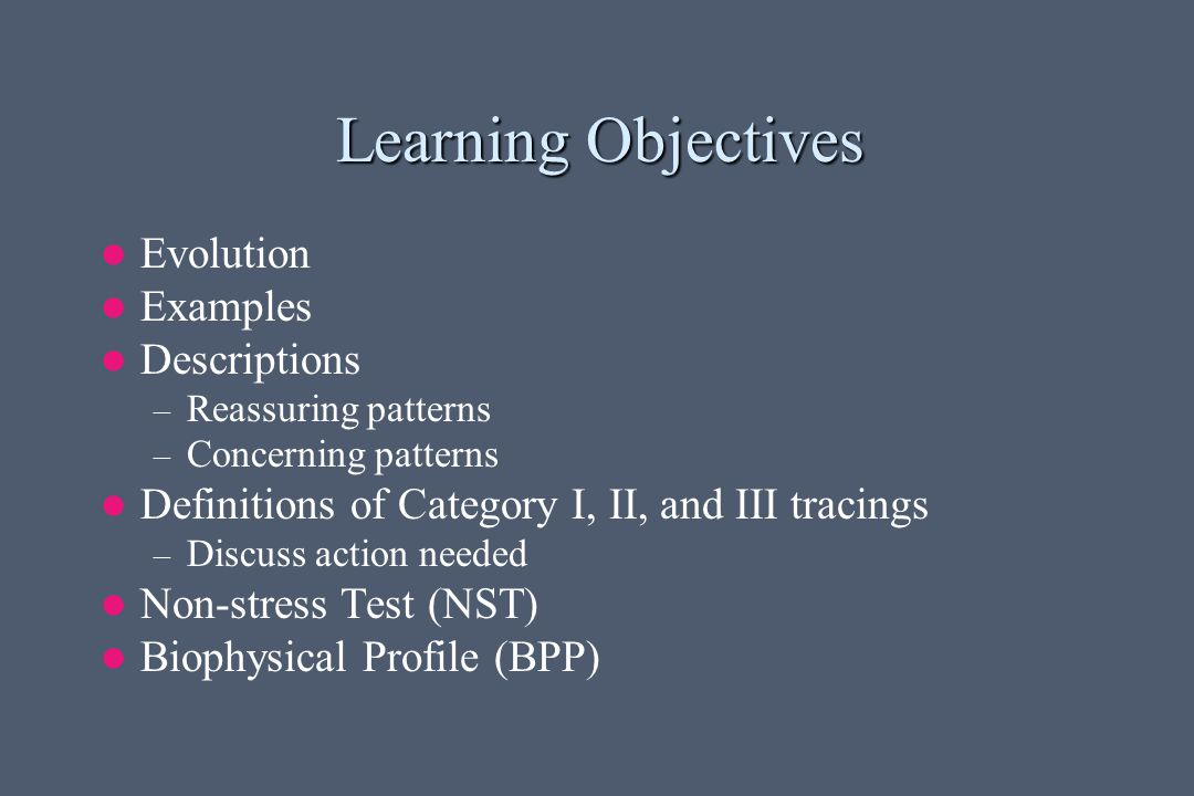 Learning Objectives Evolution Examples Descriptions