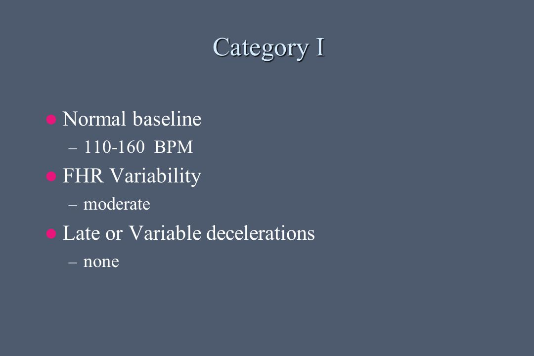 Category I Normal baseline FHR Variability
