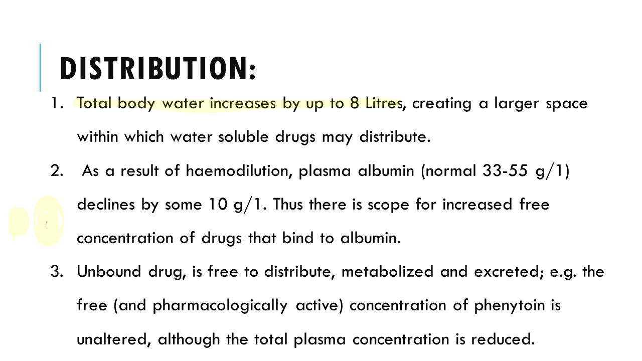 Distribution: Total body water increases by up to 8 Litres, creating a larger space within which water soluble drugs may distribute.