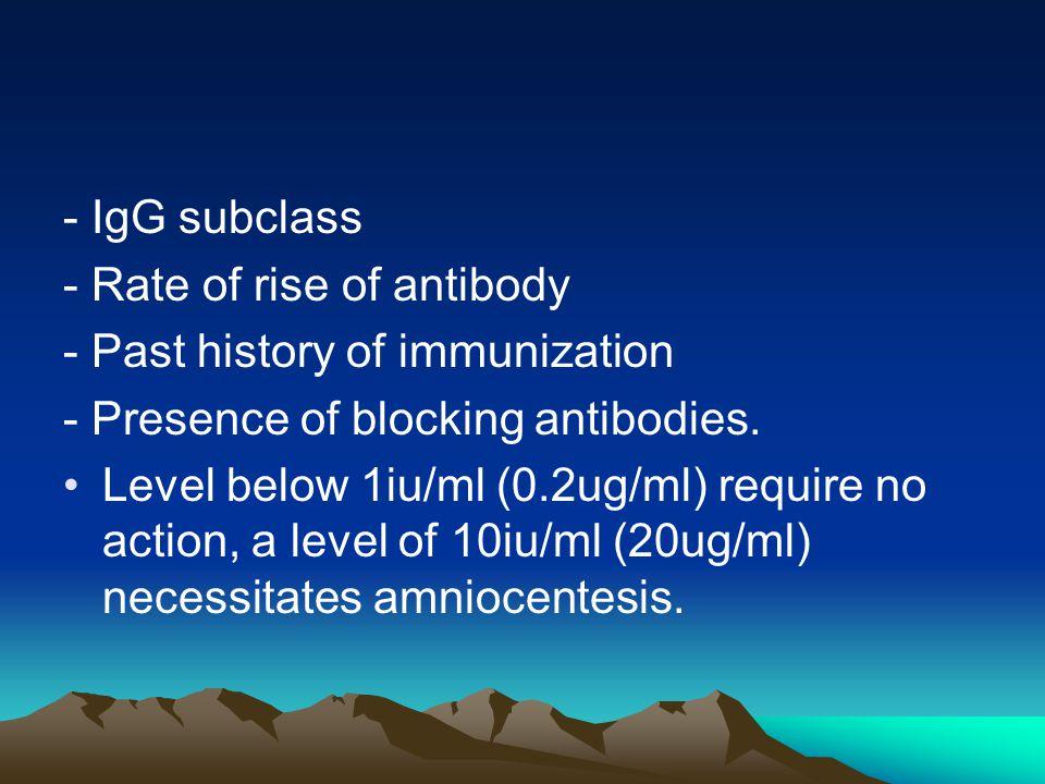 - IgG subclass - Rate of rise of antibody. - Past history of immunization. - Presence of blocking antibodies.