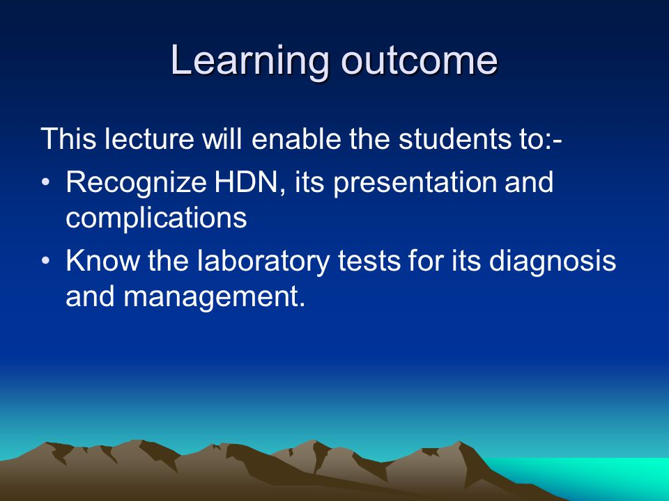 Learning outcome This lecture will enable the students to:-