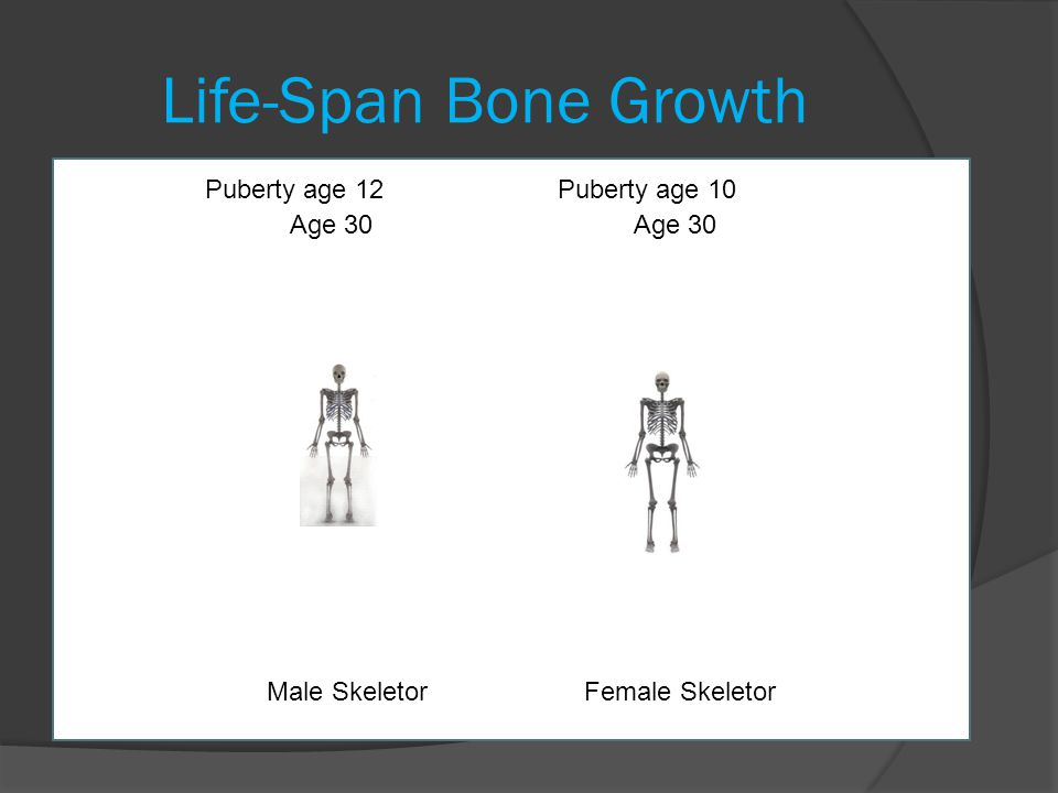 Life-Span Bone Growth Puberty age 12 Puberty age 10 Age 30 Age 30