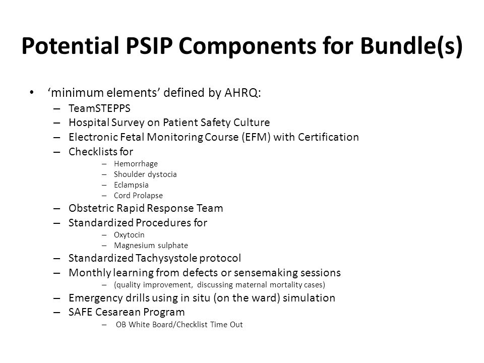 Potential PSIP Components for Bundle(s)