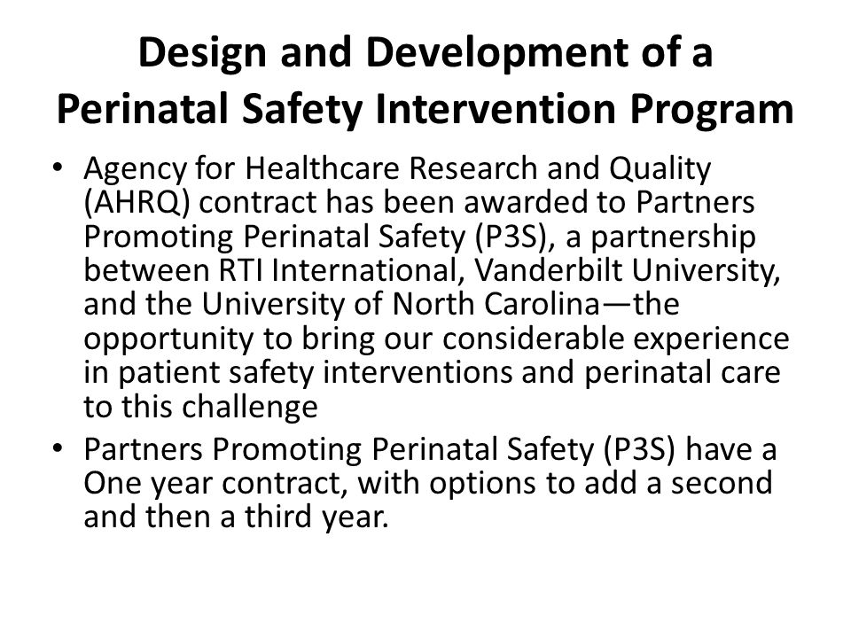 Design and Development of a Perinatal Safety Intervention Program