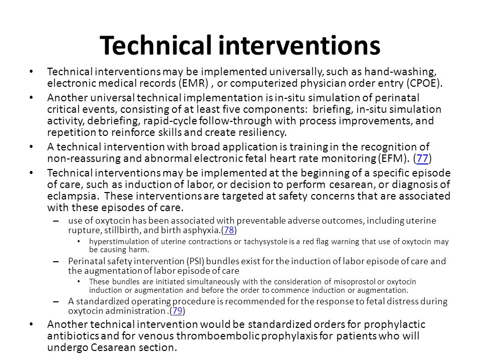 Technical interventions