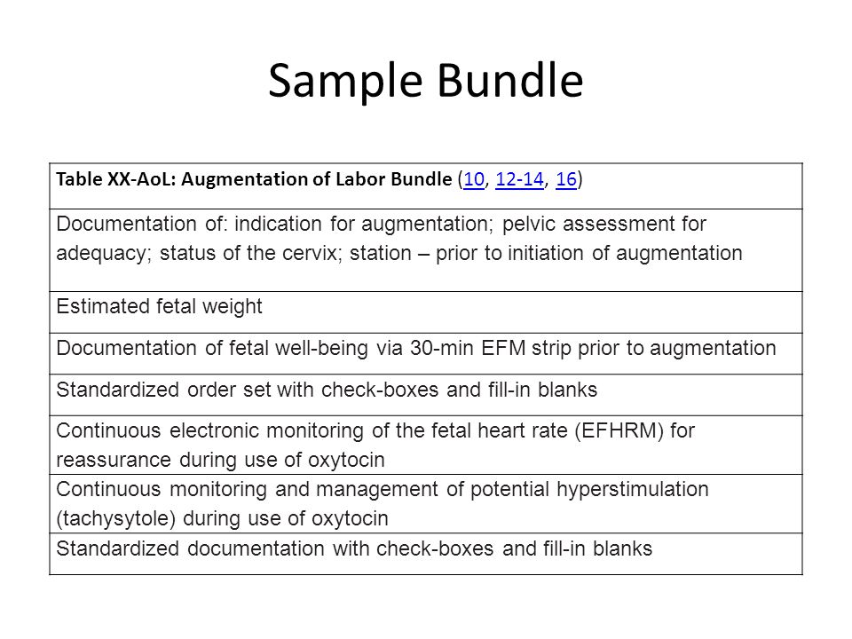Sample Bundle Table XX-AoL: Augmentation of Labor Bundle (10, 12-14, 16)