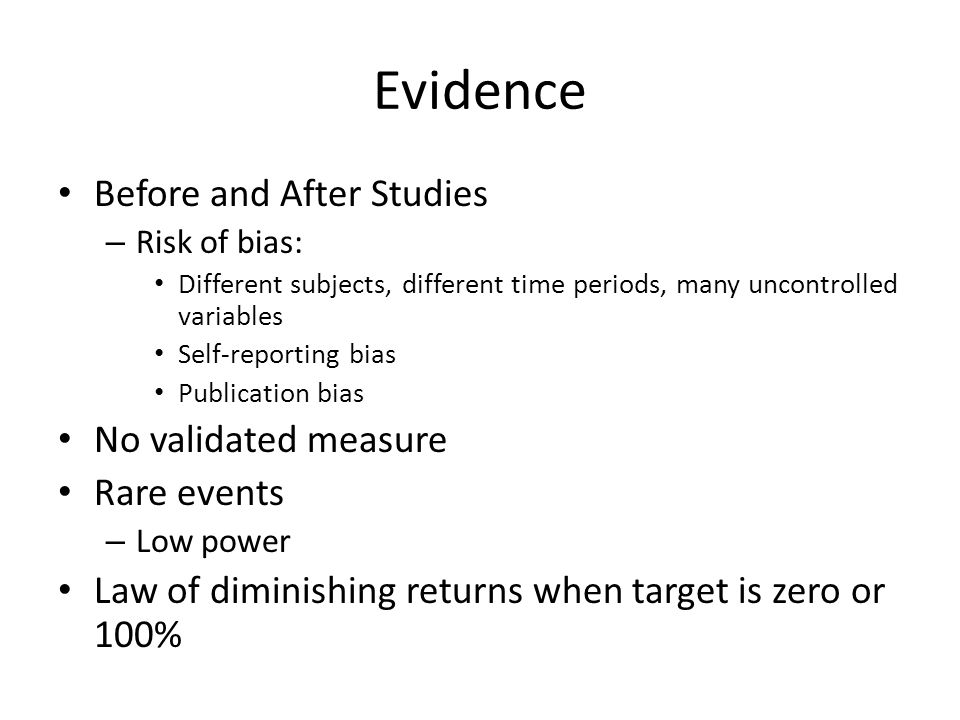 Evidence Before and After Studies No validated measure Rare events